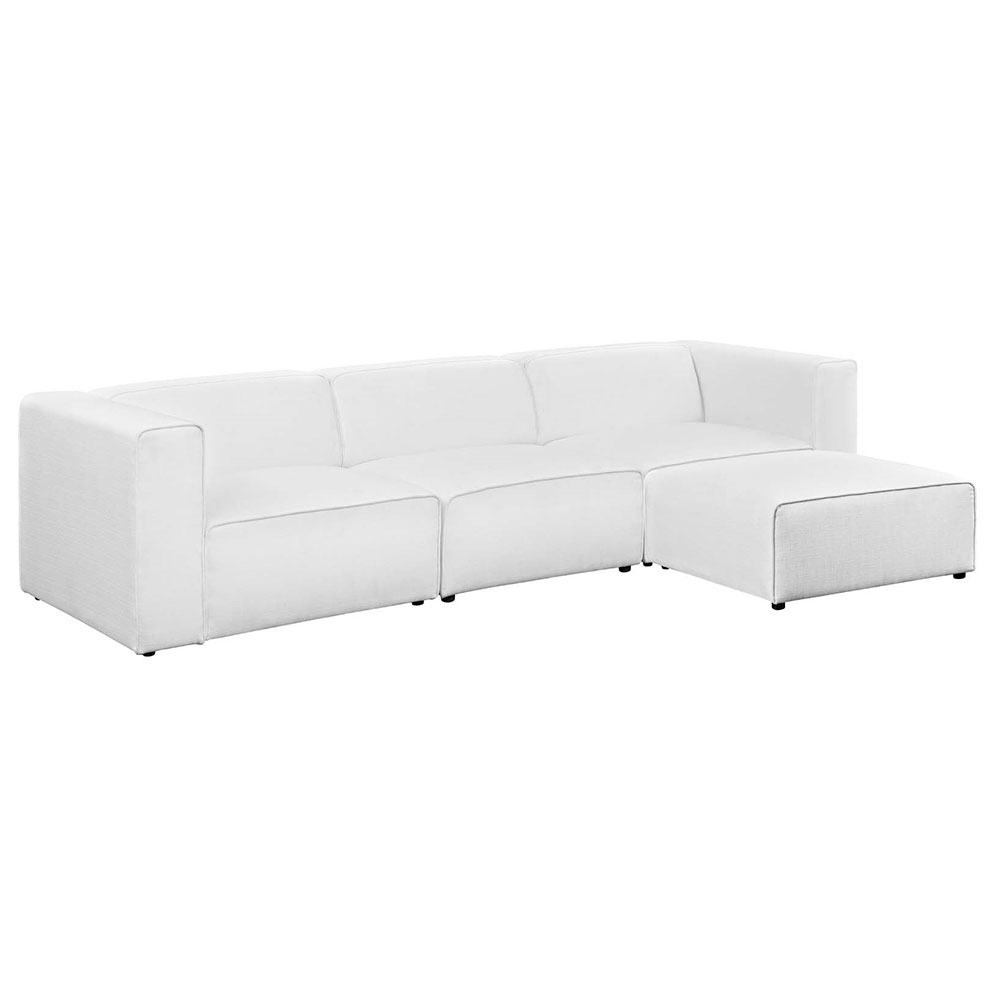 Miami Modern White Fabric 4pc Sectional
