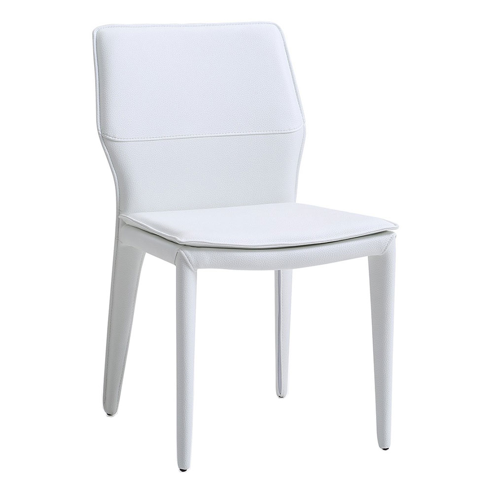 Moorwood White Faux Leather Modern Dining Chair | Eurway
