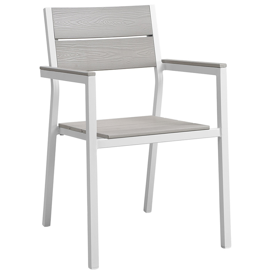 Murano Modern White Outdoor Dining Chair Eurway - White metal outdoor dining table