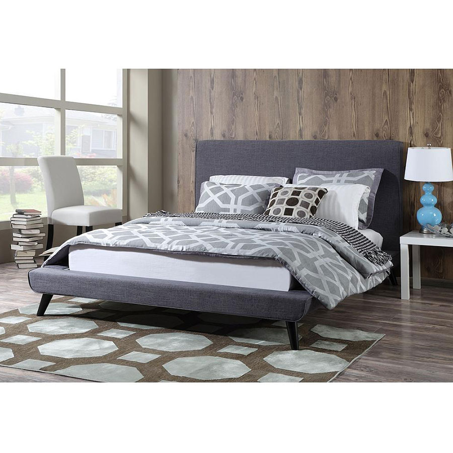 Nord queen platform bed grey linen