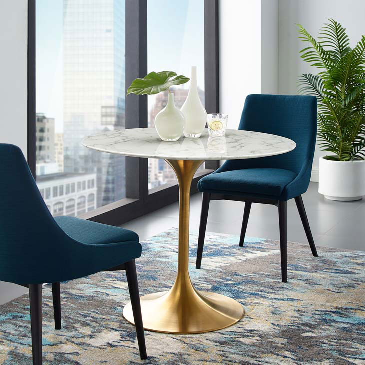 Odyssey 36 Round Dining Table Gold Artificial Marble