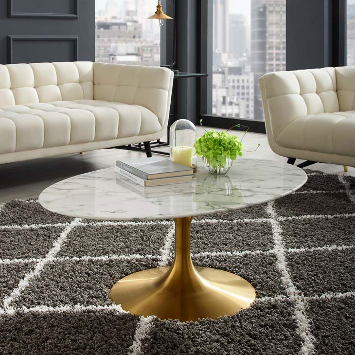 Awesome Odyssey 42 Oval Coffee Table Gold Artificial Marble Ncnpc Chair Design For Home Ncnpcorg