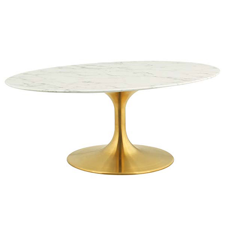 Odyssey 42 Oval Coffee Table Gold Artificial Marble