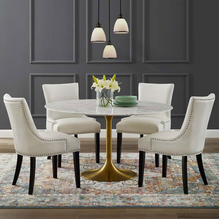 Odyssey 54 Round Dining Table Gold Artificial Marble