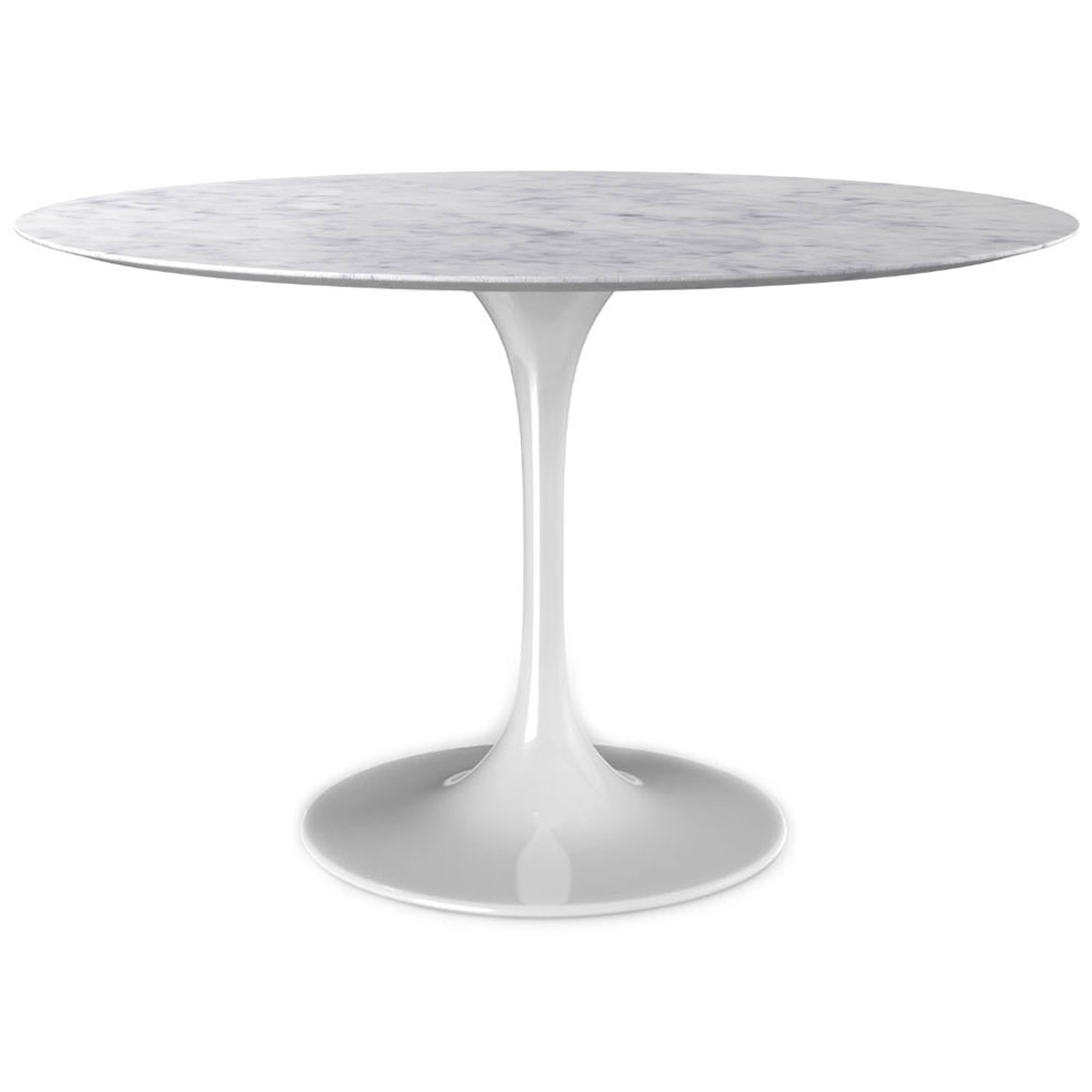 Odyssey 54 Round Marble Glossy White Dining Table Eurway