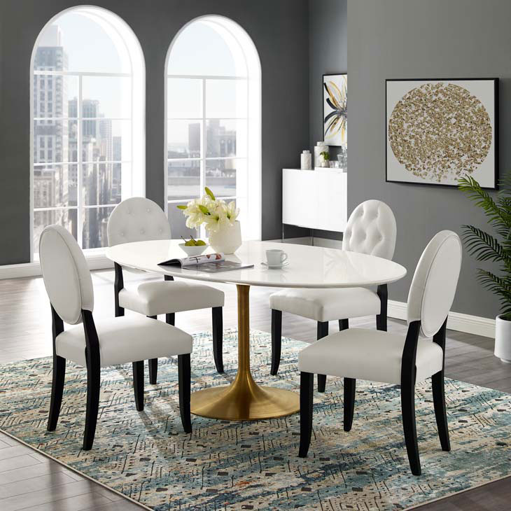 Odyssey 78 Oval Dining Table Gold White
