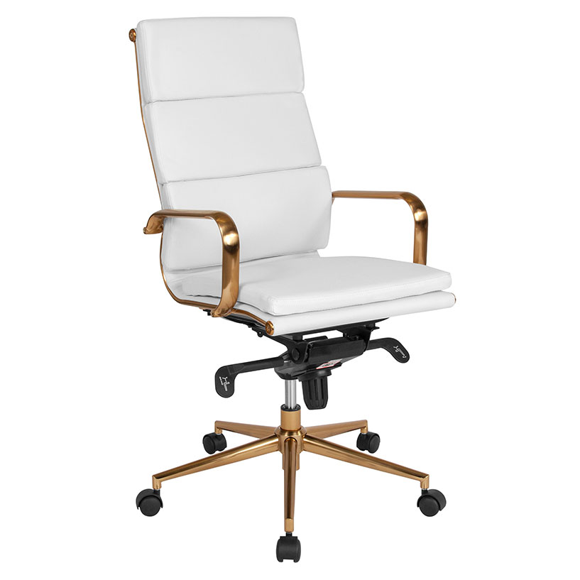 White Gold High Back Office Chair, White And Gold Office Chair High Back