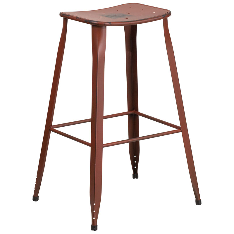 Premier Bar Stool Distressed Dark Red