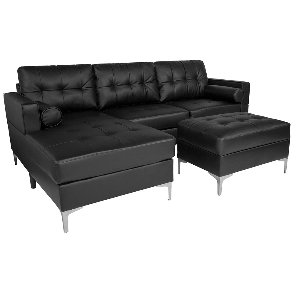 Randall Sectional + Storage Ottoman | Black