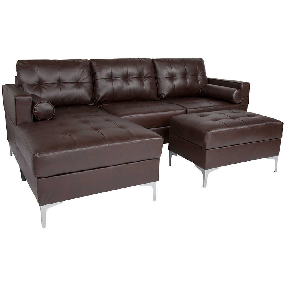 Randall Sectional + Storage Ottoman | Brown