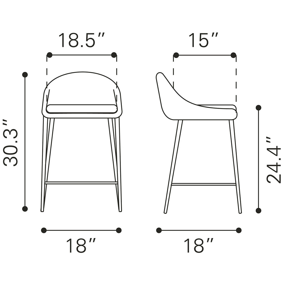 Zuo Reykjavik Counter Chair Set of 2 Pea