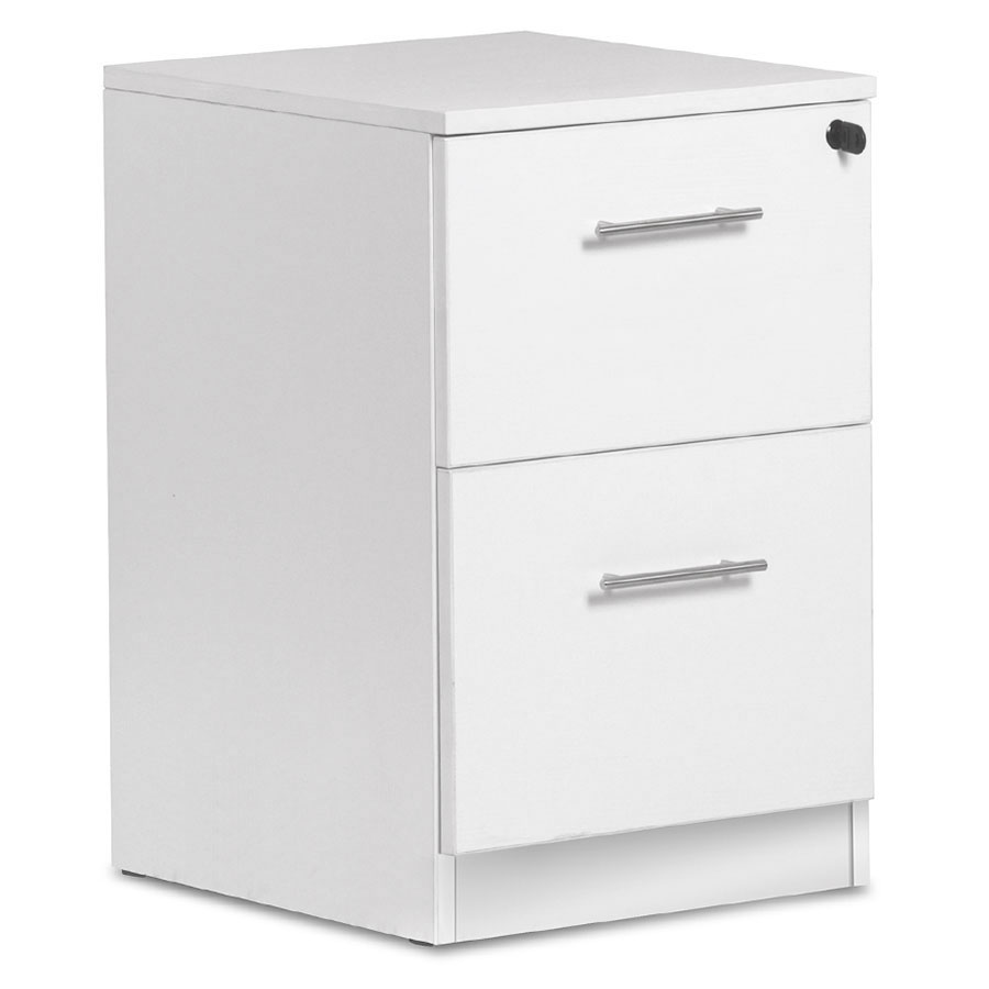 Modern White 2 Drawer File Cabinet