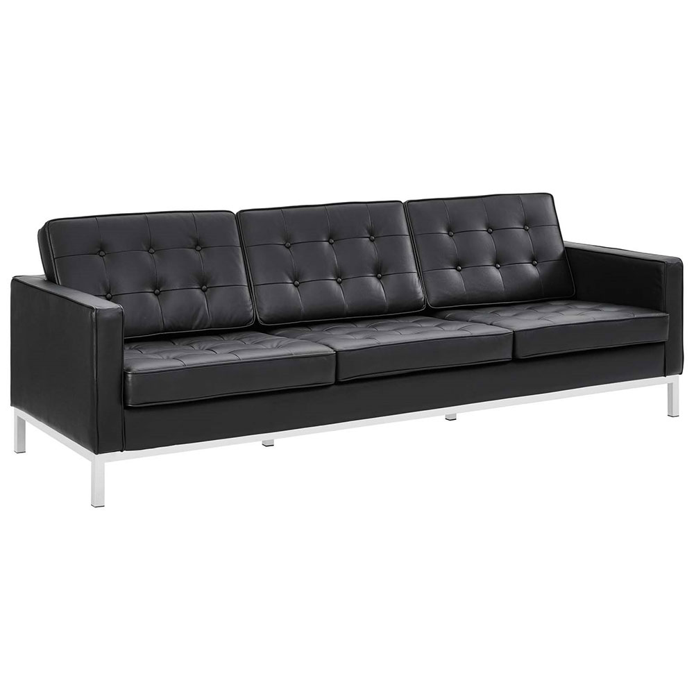 Modern Clic Black Leather Sofa