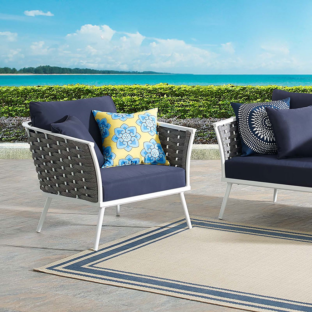 Pleasant Sylvie Outdoor Lounge Chair Navy Ocoug Best Dining Table And Chair Ideas Images Ocougorg