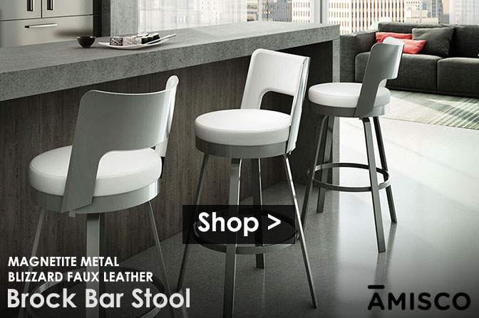 The Brock Bar Stool in Magnetite Metal and Blizzard Faux Leather | Shop >