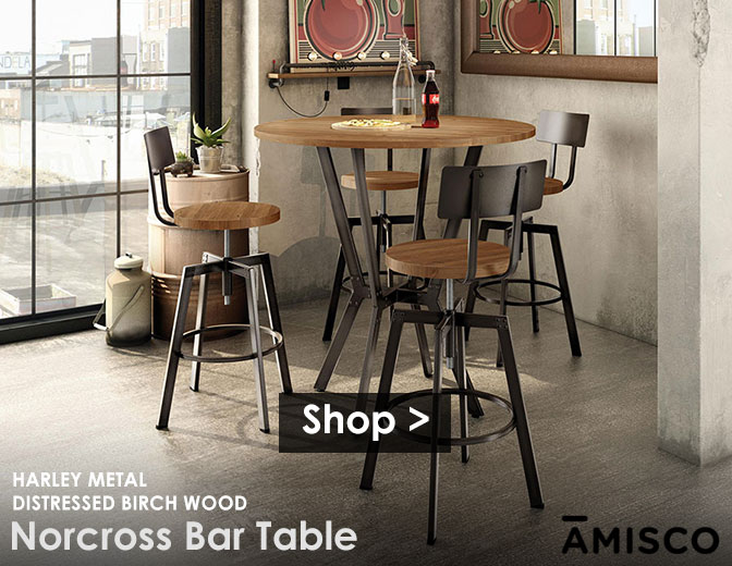 The Norcross Bar Table in Harley Metal and Distressed Birch Wood | shop >