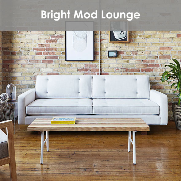Bright Modern Lounge Space with white metal, natural wood and beige.