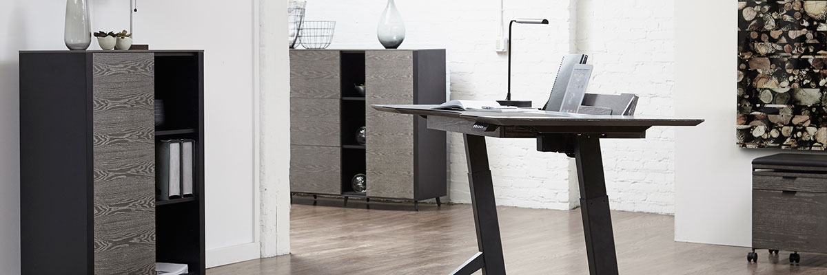 The City Modern Office Collection at Eurway.com with black and gray wood finishes and an ergonomically friendly sit-stand desk.