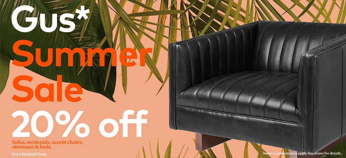 Shop the Gus* Modern Summer Sale for 20% Off Select Sofas, Sectionals, Accent Chairs, Ottomans and Beds