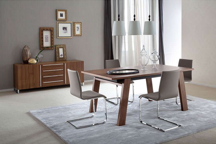 Manjula Modern Dining Table + Jean Contemporary Side Chair + Leopold Modern Sideboard