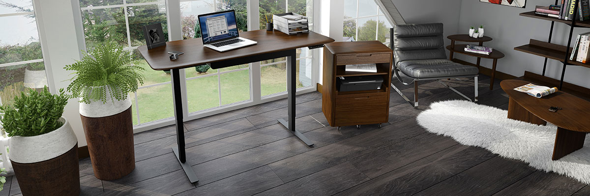 The Sola Modern Office Collection by BDi is ergonomic and has a beautiful toasted walnut finish.