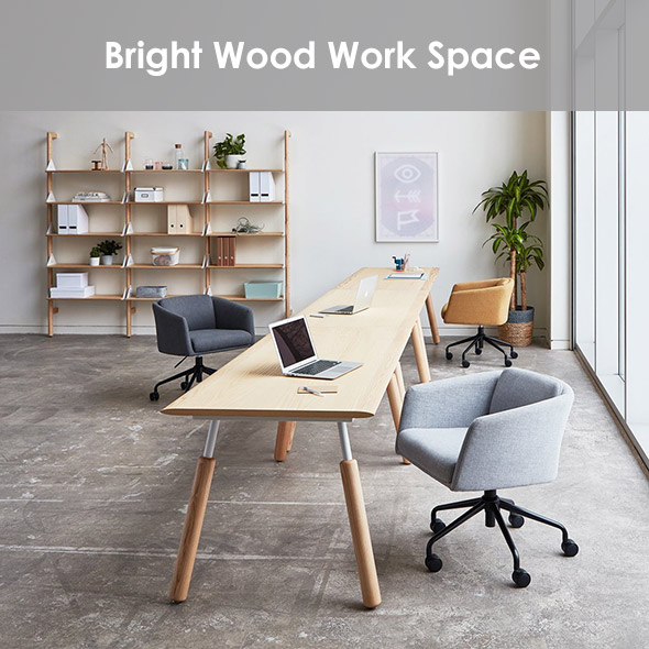 A bright work space of natural ash tones with neutral accent colors.