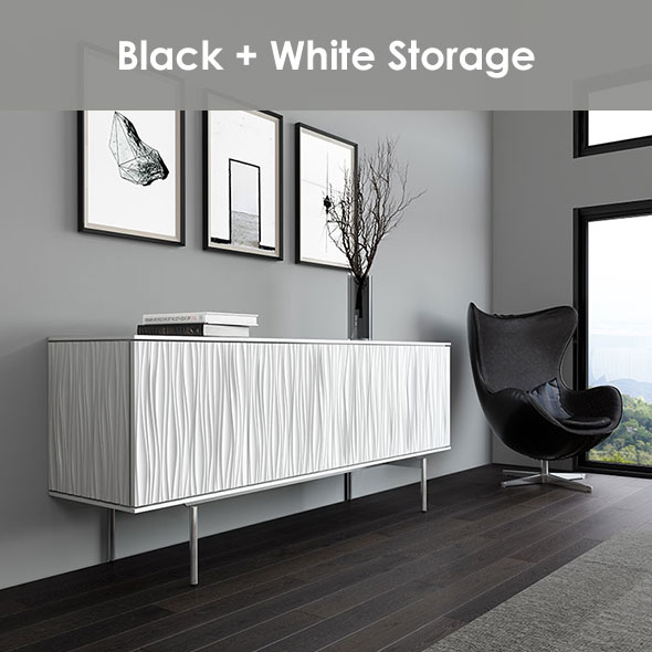 Storage Space With Seating For Home or Office in Black and White