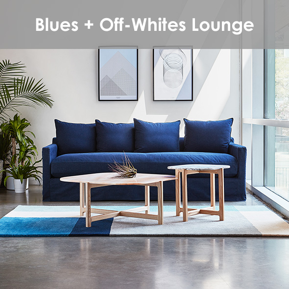 Modern Lounge Area With Blues and Off-Whites | Shop The Look >