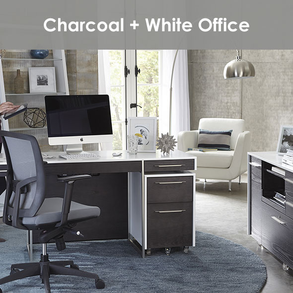 Functional and Stylish Contemporary Compact Office in Charcoal + White