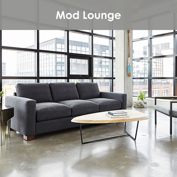 Modern Lounge Space with black metal, natural wood and grays.