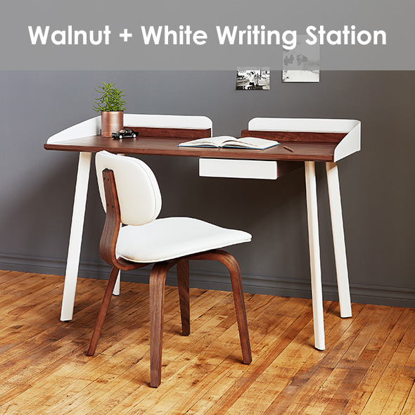 Compact Walnut + White Modern Writing / Working Station