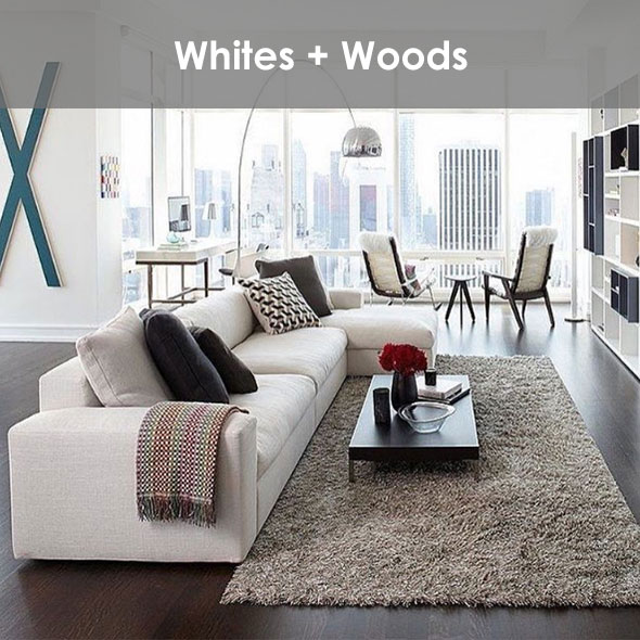 A mix of whites and dark wood finishes.