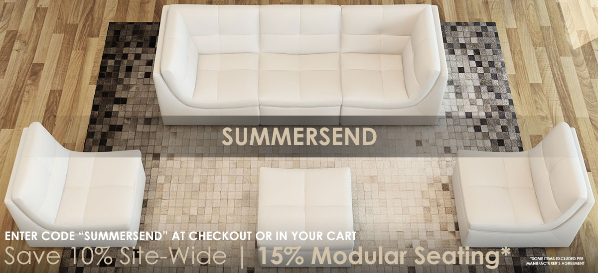 Use Code SUMMERSEND In Your Cart Or At Checkout To Get 15% Off Modular Seating + 10% Off All Other Eligible Items | Learn More >