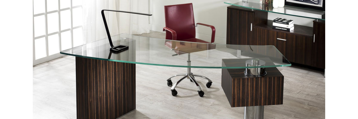 The Tierney Kohler Office Collection is a beautiful executive wood, glass and metal modern office furniture collection.