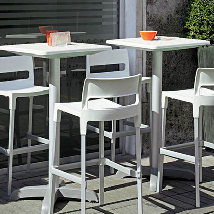 Modern Outdoor Bar + Counter Stools