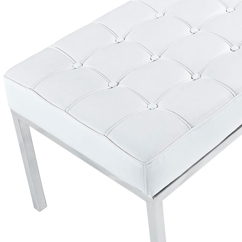 Studio Modern Leather Bench In White