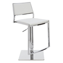 Aaron Polished Steel + White Naugahyde Modern Adjustable Stool Height