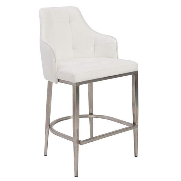 Ava White Modern Counter Stool