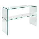 Modern Console Tables - Abbott Solid Glass Console Table w/ Shelf