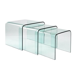 Abbott Modern Bent Glass Nesting End Table Set