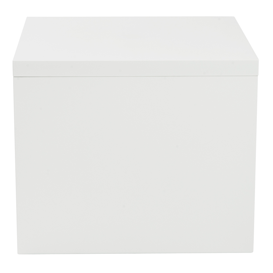 White side table -  Abby High Gloss White Lacquer Modern Side Table