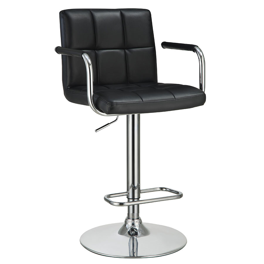 Abel Adjustable Black Modern Bar Stool