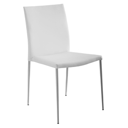 Abernathy White Faux Leather + Stainless Steel Modern Dining Side Chair
