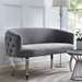 Abila Contemporary Gray Velvet + Silver Loveseat
