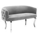 Abila Modern Gray Velvet Loveseat with Silver Legs