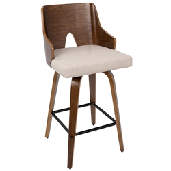 Abilene Modern Walnut + Beige Counter Stool