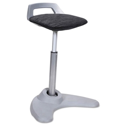 Academy Perch Sit to Stand Black + Silver Office Stool