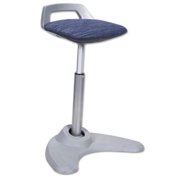 Academy Perch Sit to Stand Blue + Silver Office Stool