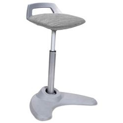 Academy Perch Sit to Stand Gray + Silver Office Stool