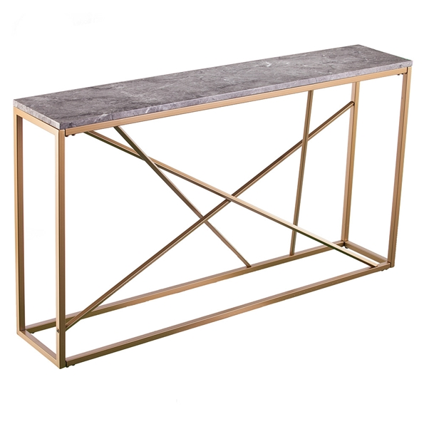 Accord Modern Gold + Faux Gray Marble Top Console Table